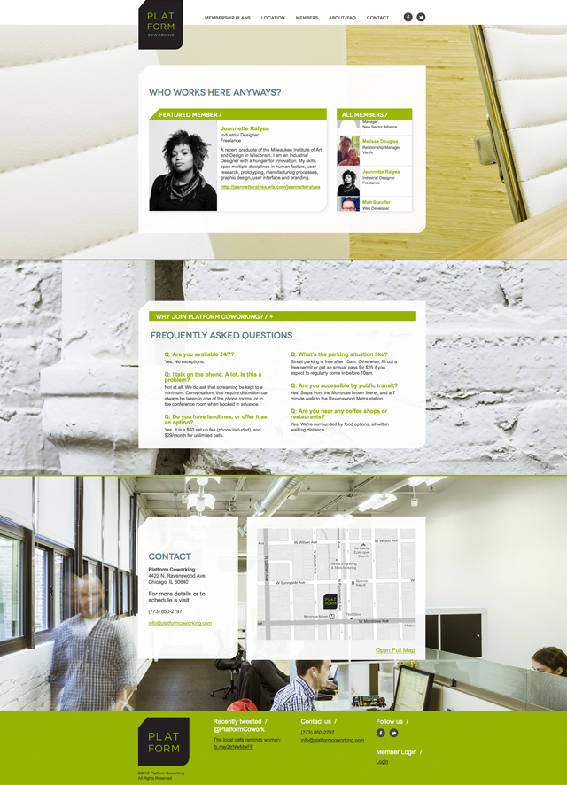 Platform Coworking Single Scroll Website Design